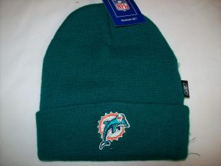 Miami Dolphins Reebok Solid Aqua Toboggan Beanie Cap Hat Sz Toddler