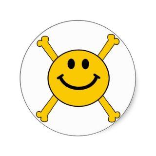 jolly roger smiley face sticker