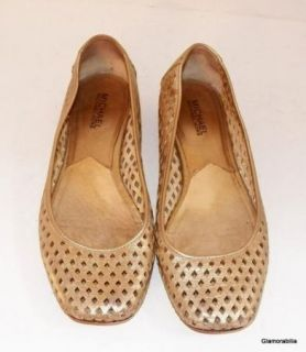 Michael Kors Perforated Gold Leather Ballet Flats Sz 8 M