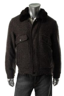 Gant by Michael Bastian New Wool Blend Tweed Faux Fur Collared Brown