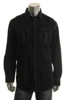 Michael Brandon New Black Textured Cotton Blend Long Sleeve Button