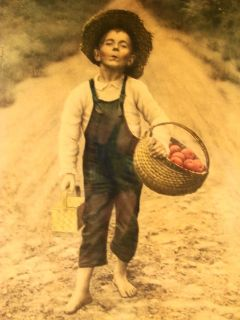 Antique 1901 by Campbell Art Co Framed Barefoot Boy with Fruit Basket