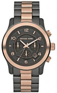 Michael Kors Two Tone Rose Gold Oversize s Steel Runway Chrono Watch