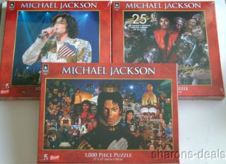 New Michael Jackson Puzzles Set 3 Thriller 1000 500 Piece 17x35 19x19