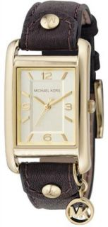 Womens Michael Kors Gold Tone Leather Band Watch MK2166