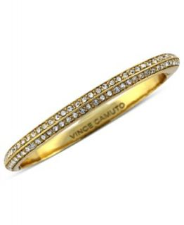 Vince Camuto Bracelet, Gold Tone Glass Crystal Pave Thin Hinged Bangle