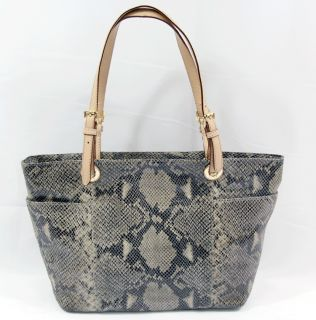 Michael Kors Jet Set Shopper Tote Python Embossed Leather E w Hand Bag