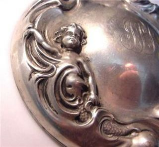 Vintage Ornate Sterling Silver Mirror Child Mermaid