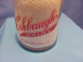 Quart Milk Bottle Eshbaughs Dairy Miamisburg Ohio Dayton Ohio