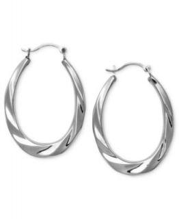 10k White Gold Earrings, Small Gradual Oval Hoop Earrings   Earrings