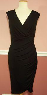 Michael Kors Sleeveless V Neck Ruched Black Dress Size 12