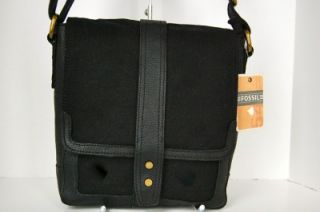 New Fossil Mens Black Canvas Leather Ranger City Bag Cross Body Small