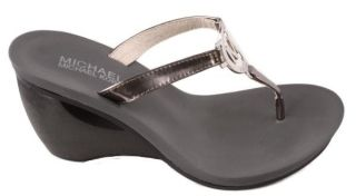 Michael by Michael Kors Warren Womens Gun Metal Mirror Thong Sandals