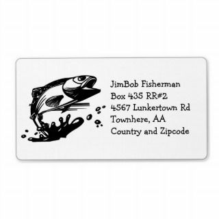 Fish Out of Water   Jumping Trout or Bass Fishing Shipping Labels