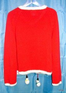 Womens Michael Simon Christmas Snowman Cardigan Sweater Size Large