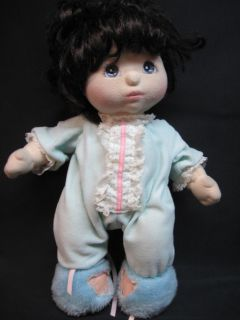 My Child Doll Brown Curly Short Hair Blue Eyes Pajamas w Slippers