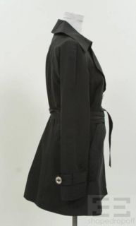 Michael Michael Kors Black Silver Button Trench Coat Size s P
