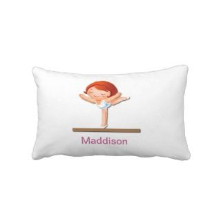 Personalized Girls Gymnastics Lumbar Pillow