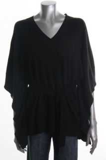Michael Kors New Black V Neck Belted Dolman Sleeve Poncho Sweater Top