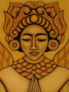 Print Mexican Folk Art Golden Aztec Goddess Painting