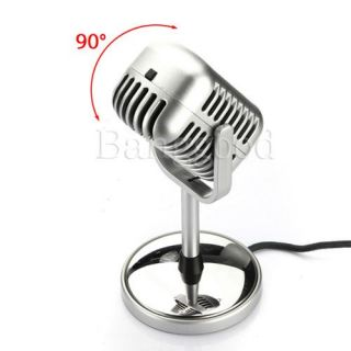 5mm 50s Retro Microphone Mikrofon Mic Desktop Stand PC Vocal Studio