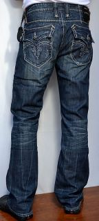Rock Revival Mens Denim Mick 03 Jeans Boot Cut New Dark Blue Wash
