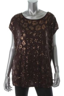 Michael Kors New Brown Sequined Front Dolman Sleeve Pullover Top Shirt