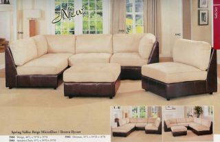 Microfiber w Bycast Leather Sectional Sofa Set A5980