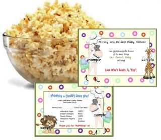 30 baby shower microwave popcorn wrappers personalized