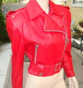 North Beach Leather Michael Hoban Vibrant Red 5 6 Biker Style Jacket w