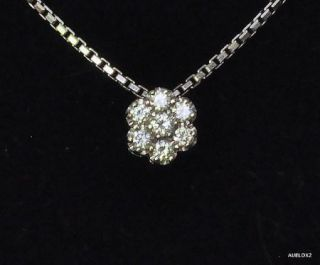 New $1 540 Damiani 18K White Gold Diamond Flower Pendant Necklace Sale