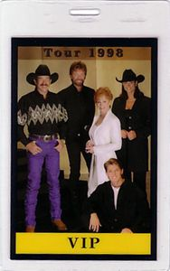 Brooks Dunn Reba McEntire 1998 Laminated Backstage Pass