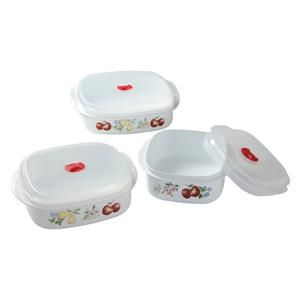 Chutney Harvest Fruit Microwave Cookware Set w Vent Covers New