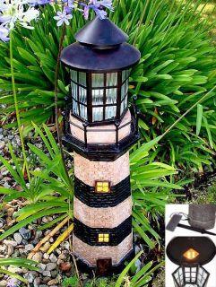 Large Lighthouse Fiberglass Solar Light Green Ivory Furniture FNE EHS