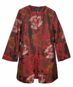 Sutton Studio Womens Red Floral Jacquard Evening Jacket Topper