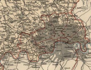 Middlesex County England Detailed 1889 Map showing Towns; Cities