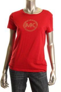 Michael Kors New Red Studded Short Sleeve T Shirt Top M BHFO