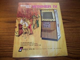 1974 Midway Winner IV Video Game Sales Flyer Brochure