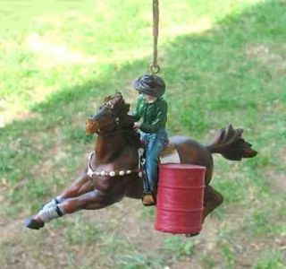 new rodeo barrel racer horse xmas ornament by midwest importers
