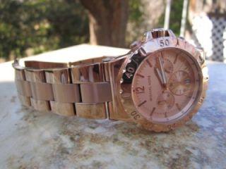 Michael Kors Womens Rose Gold Chronograph Watch MK5314 F40