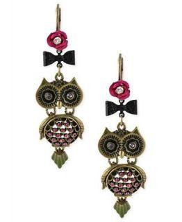 Betsey Johnson Earrings, Gold Tone Glass Owl Drop Earrings