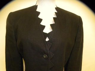 Mila Schon Black Light Linen Long Scalloped Jacket M