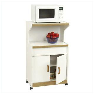 Ameriwood Microwave White Oak Kitchen Cart