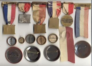 16 Post WWI to 1950 Army Engineer Reunion Ribbons Badges & Celluloid