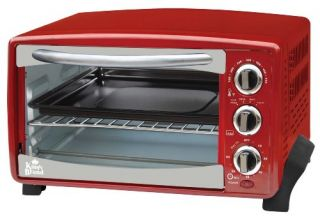 Kings Brand Red 6 Slice Toaster Oven Toasts Bakes Broils Grills Roasts