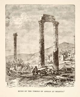 1890 Wood Engraving Miletus Greece Temple Apollo Greek God Archeology