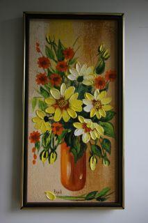 Mid Century Modern Signed Valerie Pejril Still Life Floral Bouquet Oil