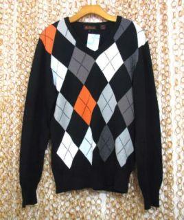 Ben Sherman Mens Nice Black Argyle Cotton Sweater Sz 3 L