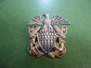 SILVER & 1/20 12KT GOLD US NAVY MILITARY EAGLE WINGS ANCHOR PIN & MINI