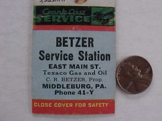 1940 50s Era Middleburg,Pennsylvania Texaco Gas & Oil service station